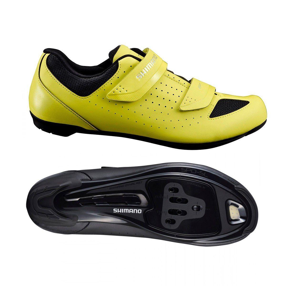Sapatilha Speed Shimano Rp1 Amarela Neon + Pedal RS500 + Taco