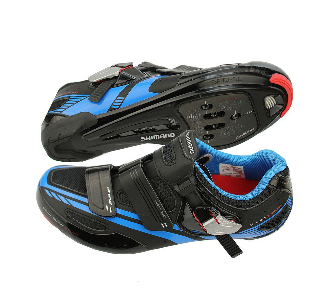 Sapatilha Speed Shimano SH-R107L Carbon Preta e Azul