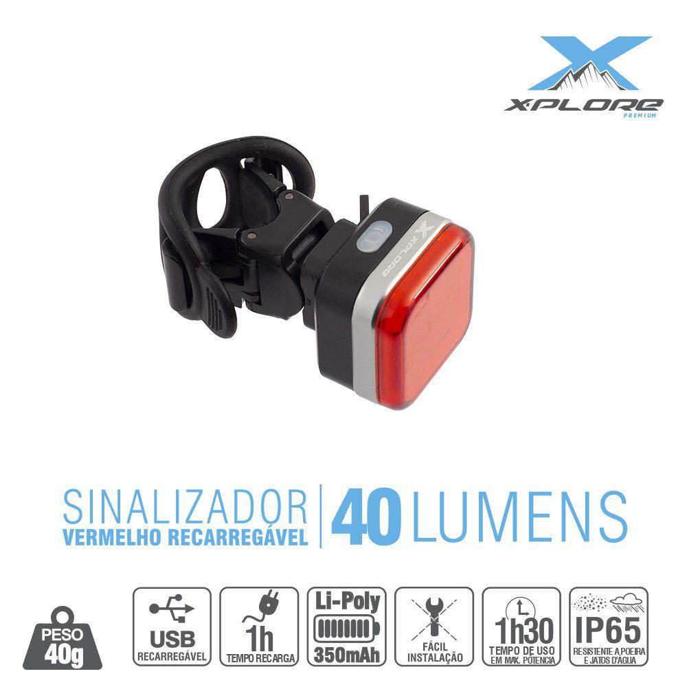Sinalizador Traseiro Bike 40 Lumens X-Plore - Vermelho