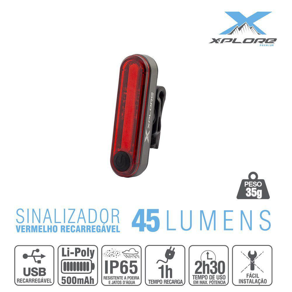 Sinalizador Traseiro 45 Lumens X-Plore - Vermelho