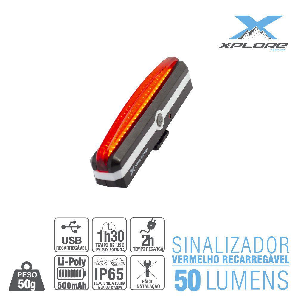 Sinalizador Traseiro Led 50 Lumens USB X-Plore - Vermelho