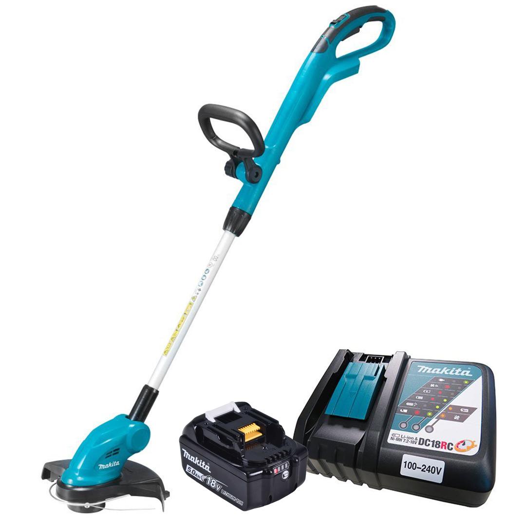 Aparador De Grama A Bateria Makita 18v c/ Bateria 5AH BL1850B + Carregador DC18SD Bivolt DUR181ZC - Makita