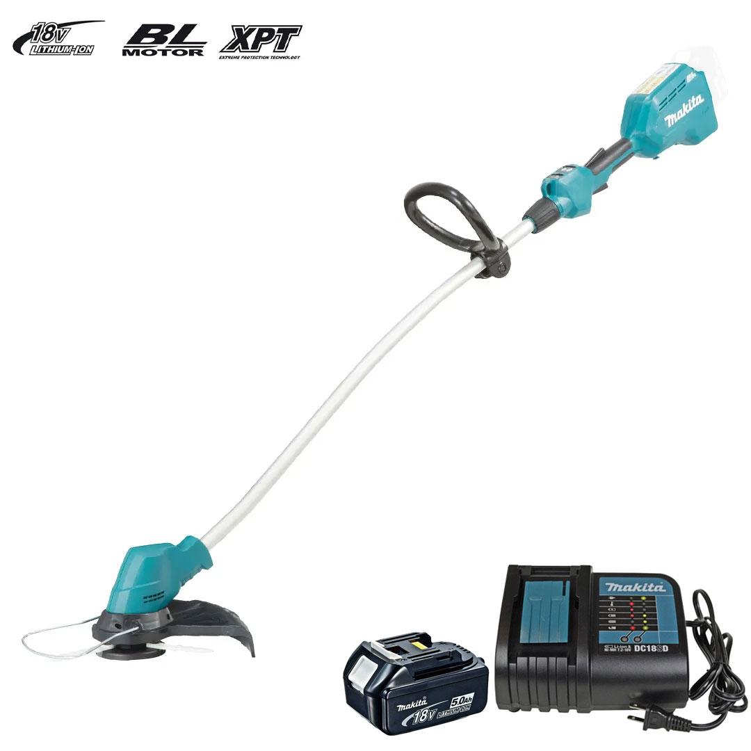 Aparador de Grama Makita com Bateria 5Ah e Carregador 18V DUR184LZ + BL1850 + DC18SD