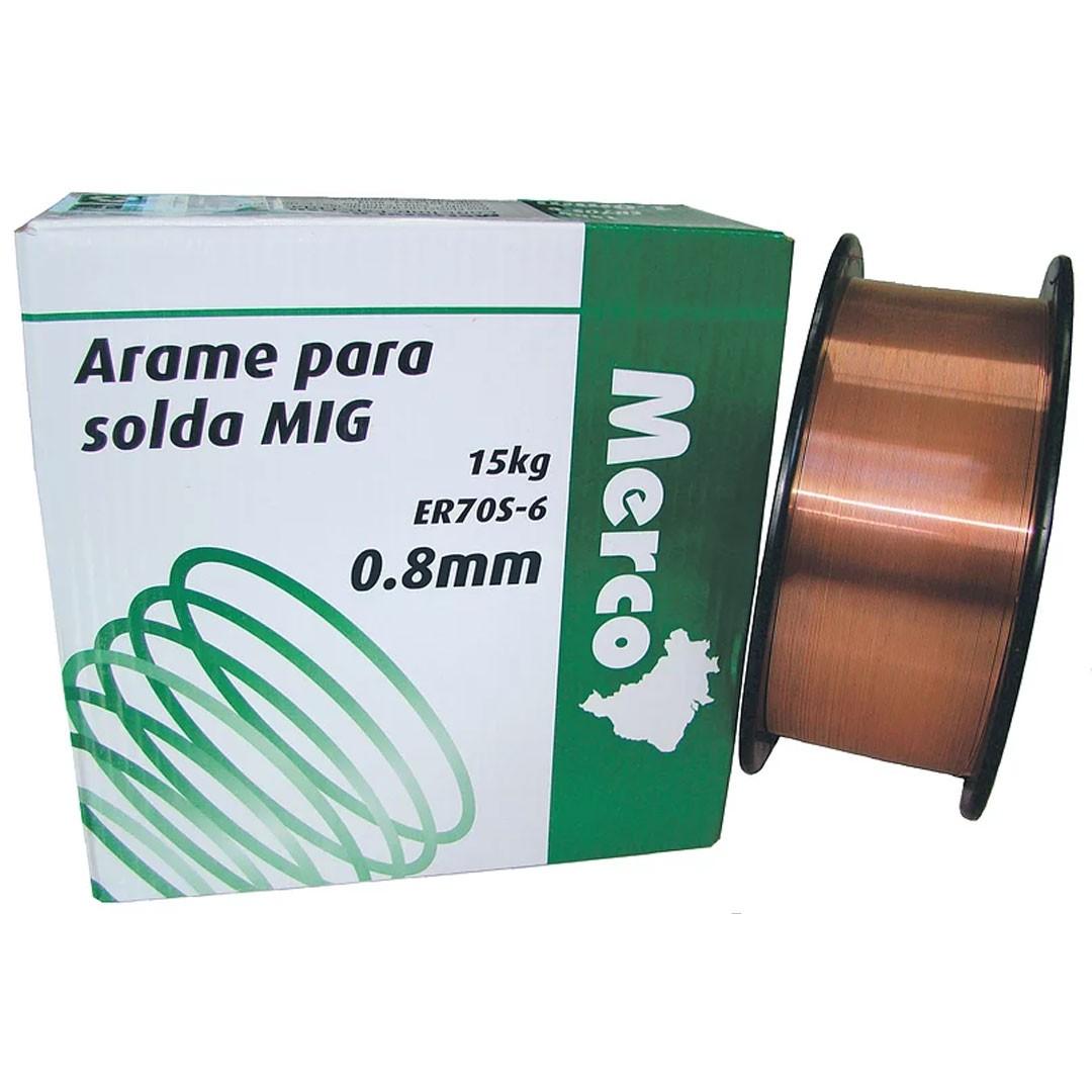 Arame Para Solda MIG 0.8mm ER70S-6 15Kg MERCO NOBRE
