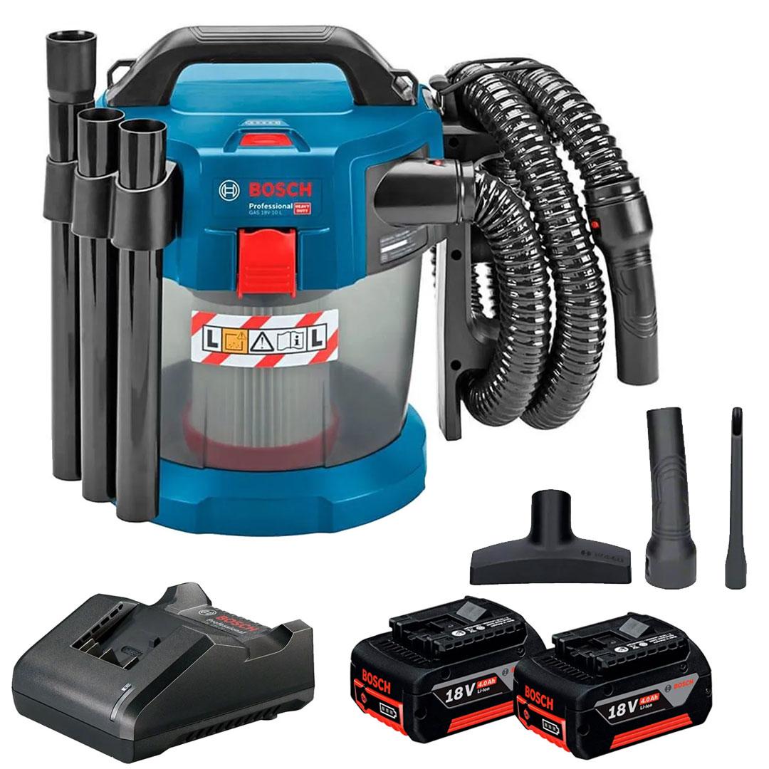 Aspirador Bosch Água e Pó GAS 18V-10L + 2 Bat. 4Ah + Carregador GAL 18V-2 06019C6300