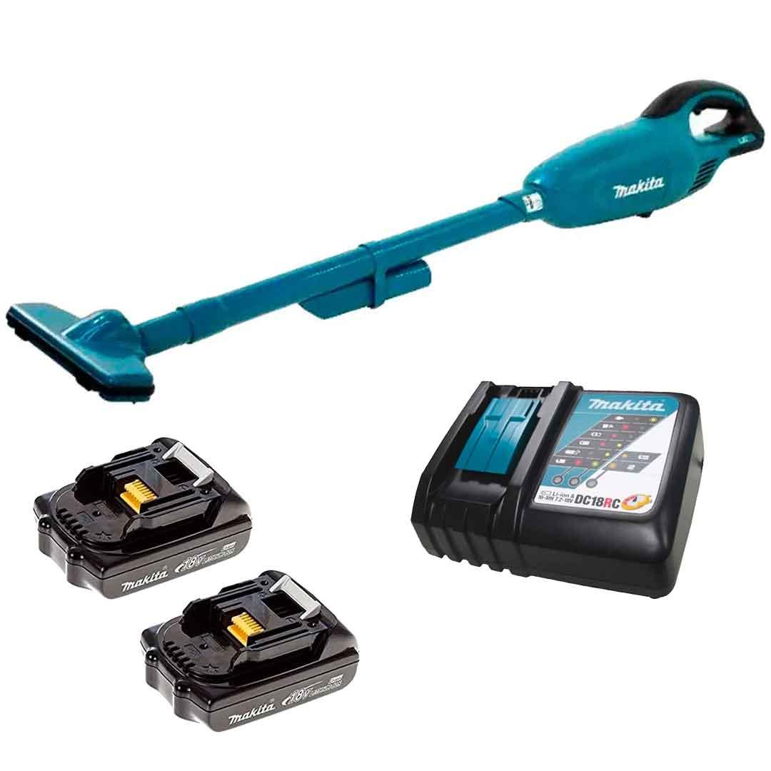 Aspirador Pó Portátil 18v DCL180Z + 2 Baterias 1.3AH BL1815 + Carregador DC18RC - Makita