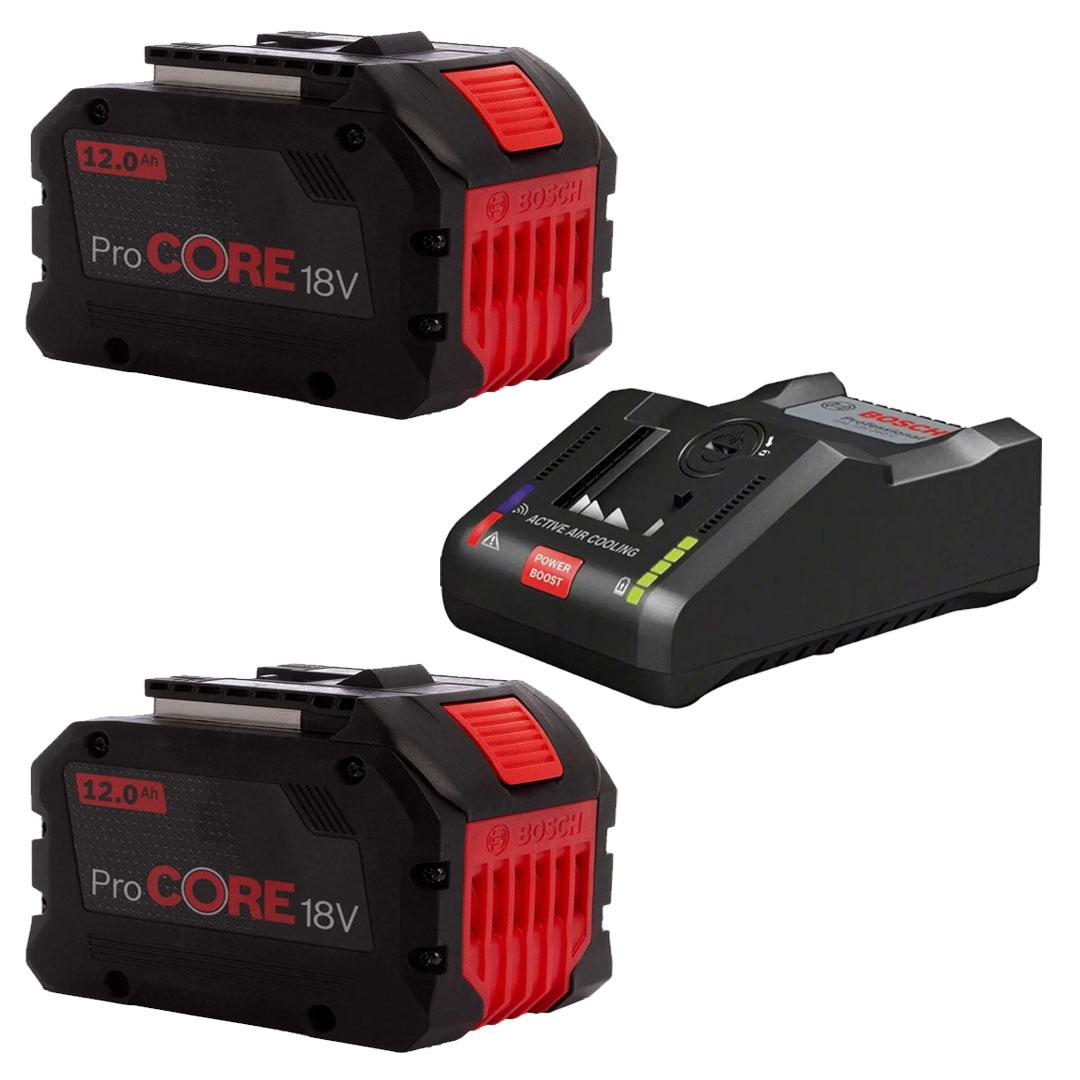 Kit 2 Bateria PROCORE 18V 12.0Ah Íons de Lítio + Carregador Rápido de Bateria BOSCH GAL18V-160C 18V (220V)