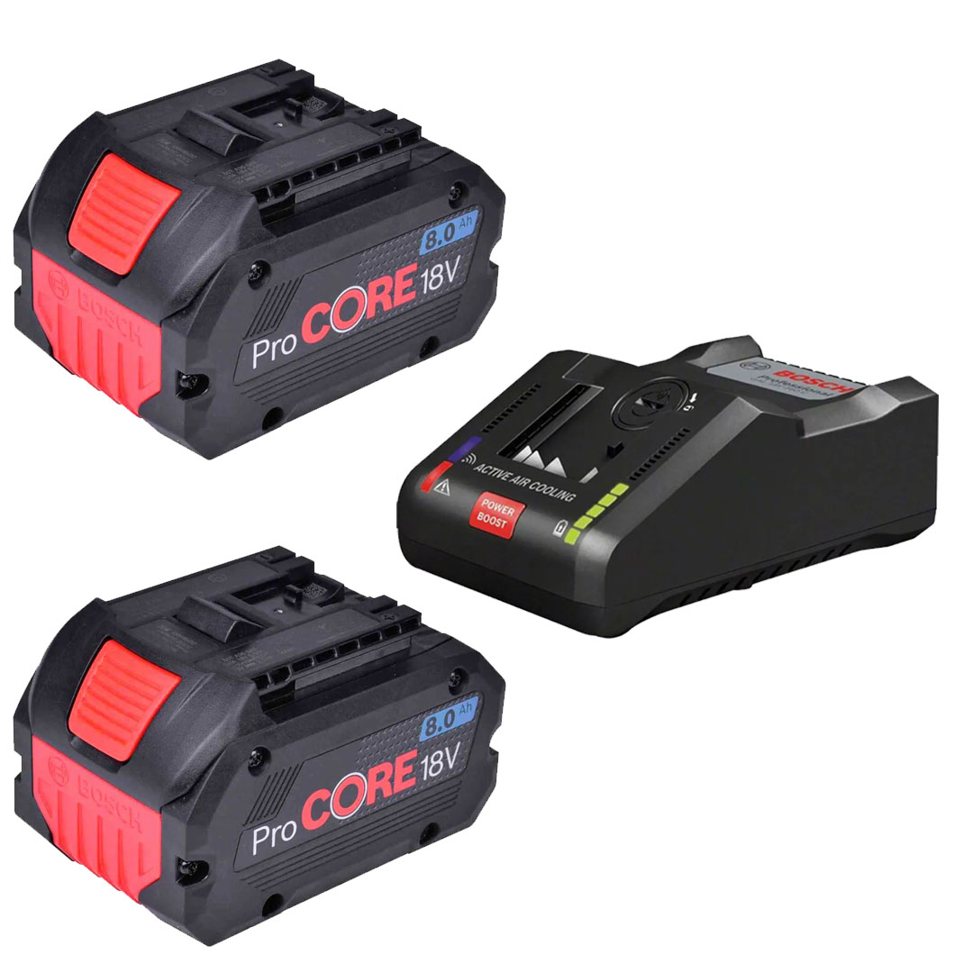 Kit 2 Bateria Procore 18v 8.0A Bosch + Carregador Rápido de Bateria BOSCH GAL18V-160C 18V (220V)