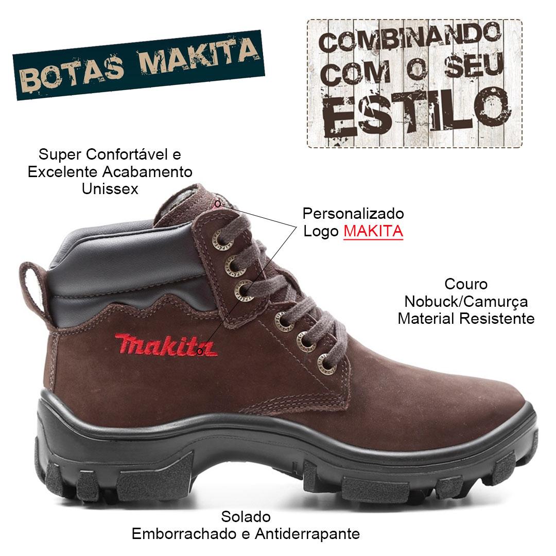 Bota Makita 41 Botina Com Cadarço Couro Nobuck Marrom BM-MR41