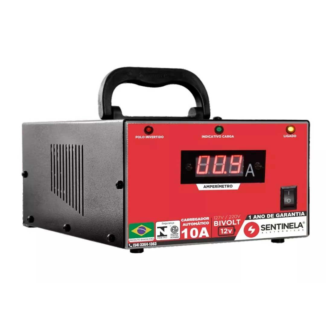 Carregador De Bateria S 10a C/ Amperimetro Sentinela