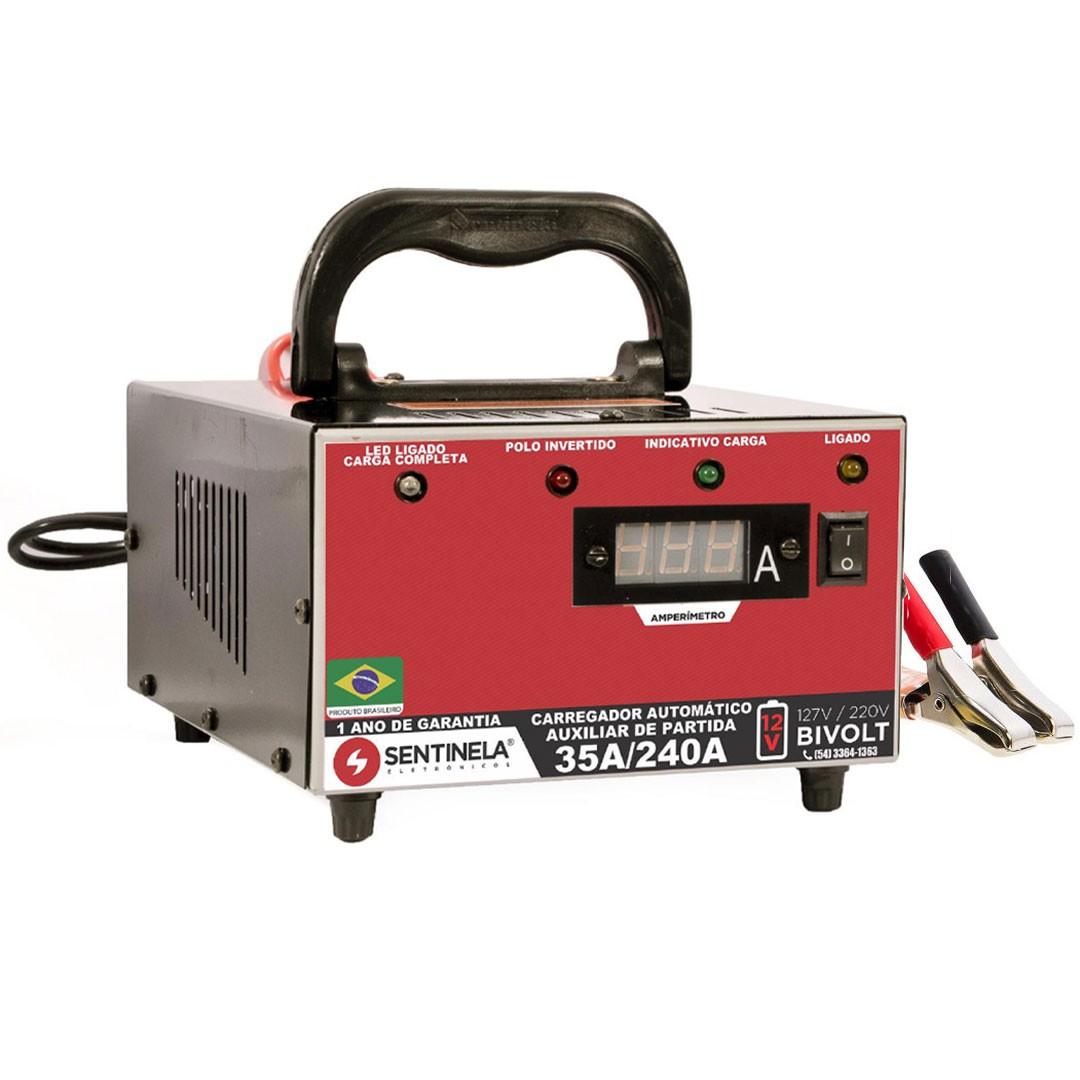 Carregador de Baterias 35Ah Com Amperimetro e Auxiliar de Partida Sentinela