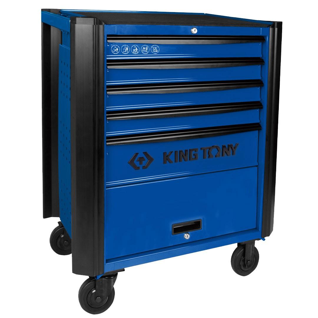Carrinho Metálico Fechado Azul 5 Gavetas KING TONY BUMPER 87632-5B-B