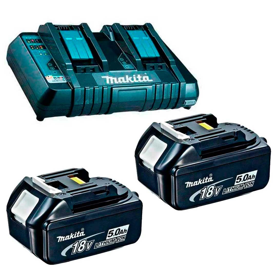 Combo Carregador 18V Duplo DC18RD 220v + 2 Bateria 5,0AH 18V MAKITA