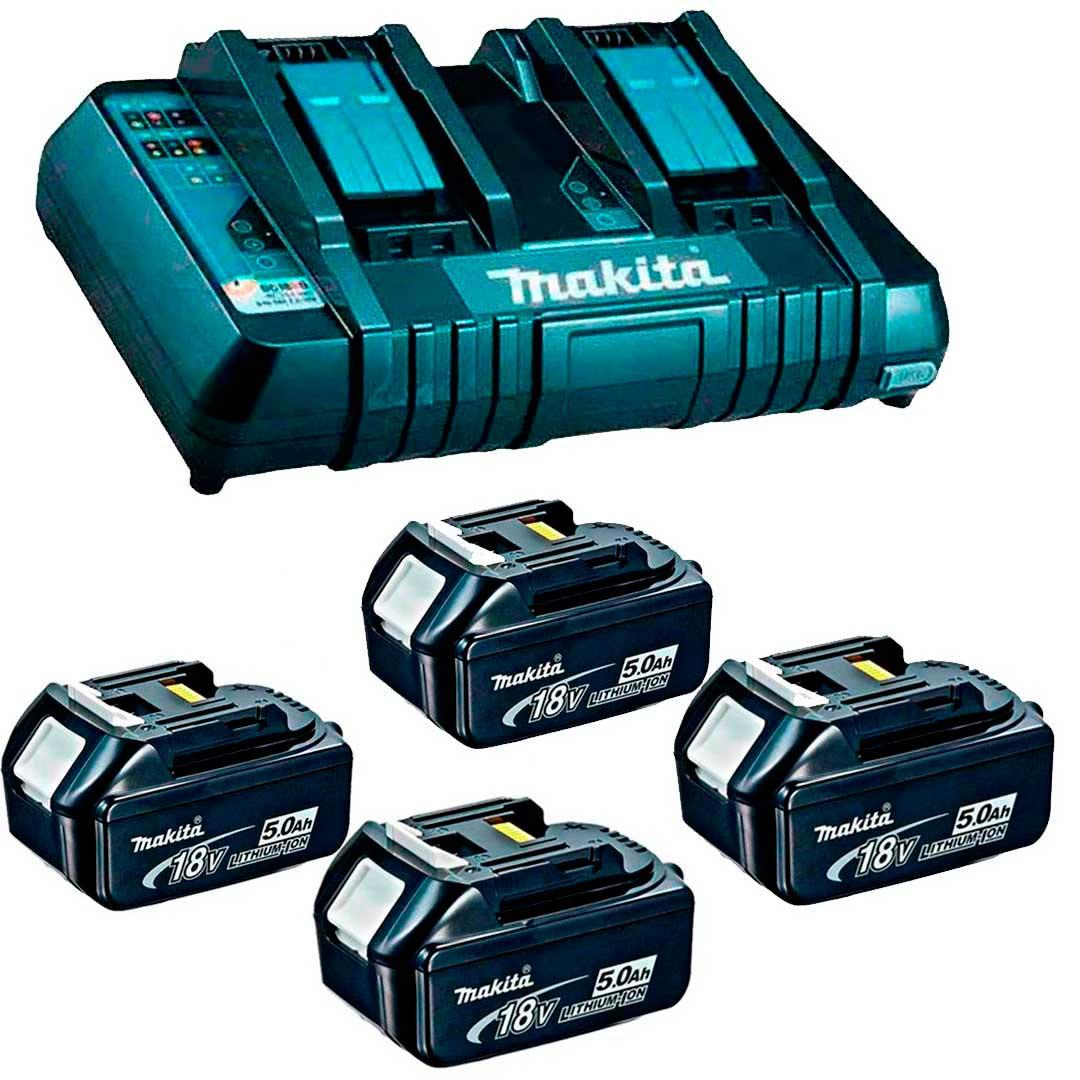 Combo Carregador 18V Duplo DC18RD 220V + 4 Bateria 5,0AH 18V MAKITA