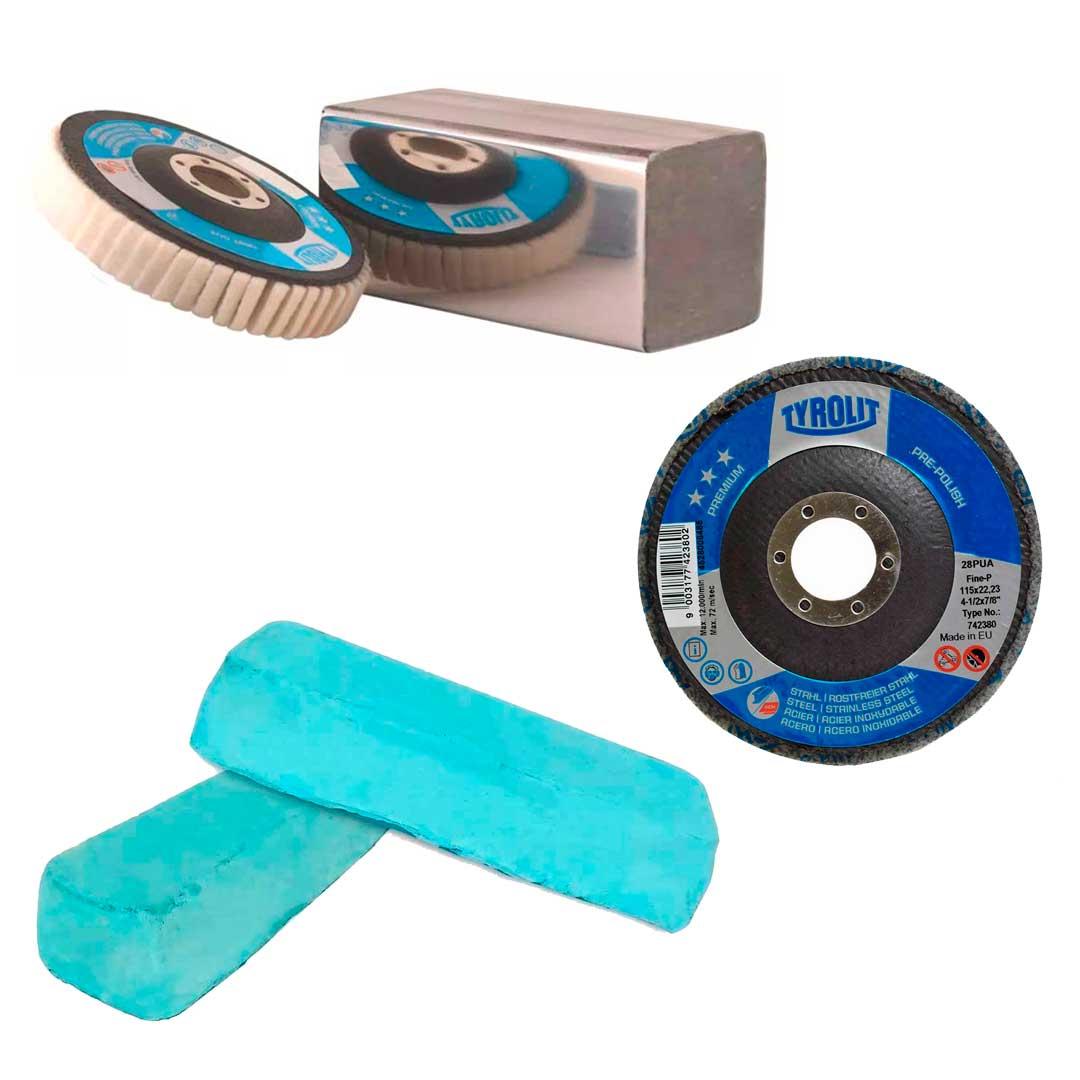 Combo Disco de Polimentos Disco Feltro P/ Polimento Espelhado + Disco Flap Pre Polish 4.1/2
