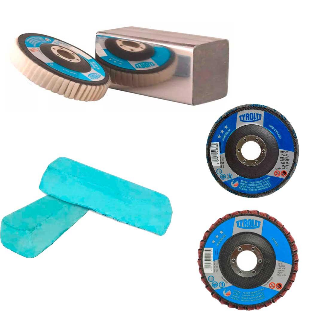 Combo Disco Polimentos Disco Feltro + Disco Flap Pre Polish + Disco Flap Combi + Massa P/ Polimento Azul.