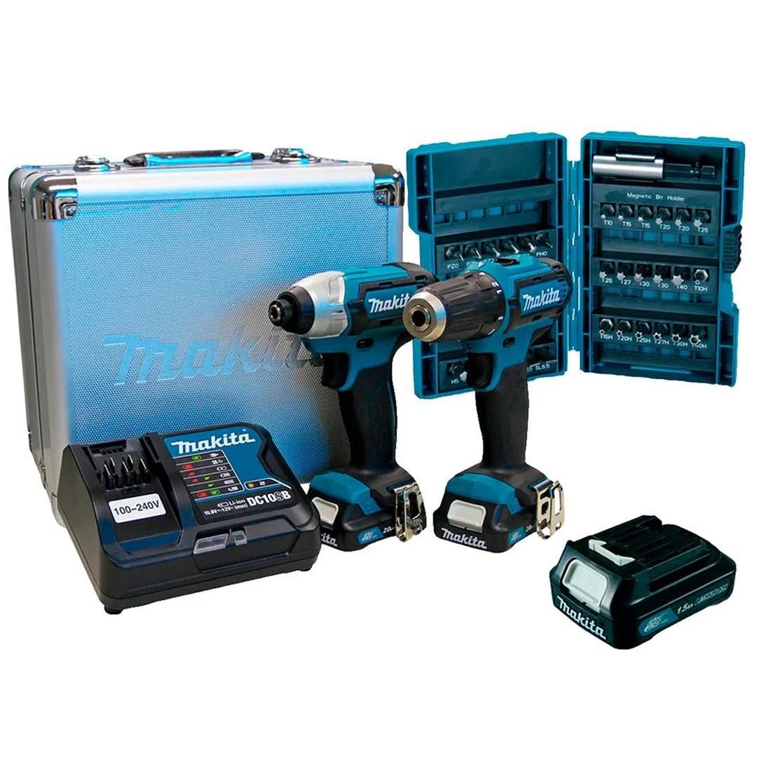 Combo Parafusadeira E Furadeira Bateria 12V CXT Makita CLX224SAX-P (DF333D+TD110D)