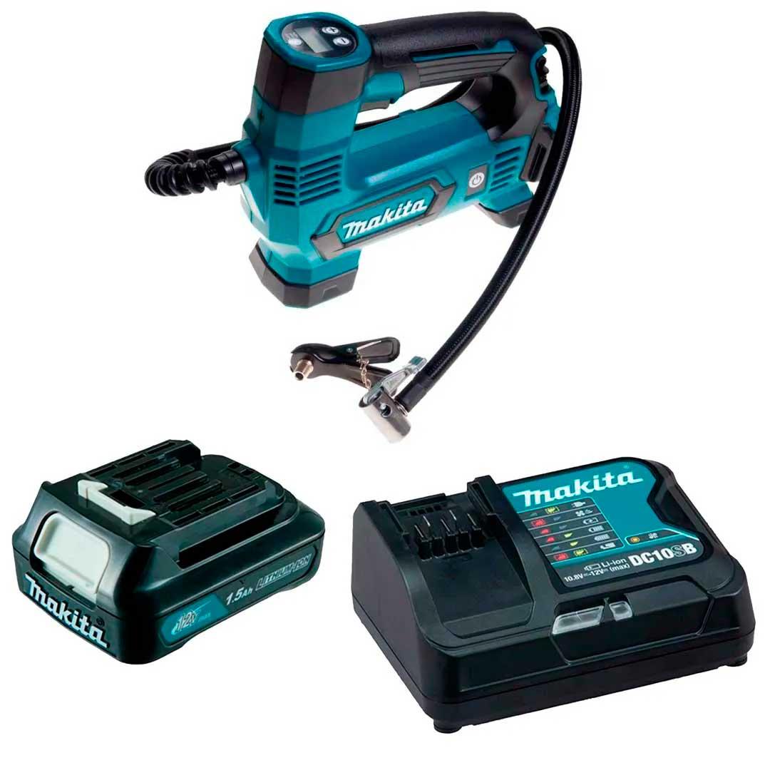 Compressor Ar Bateria MP100DZ +Carregador Rapido 12V + Bateria 12V 1.5Ah Makita