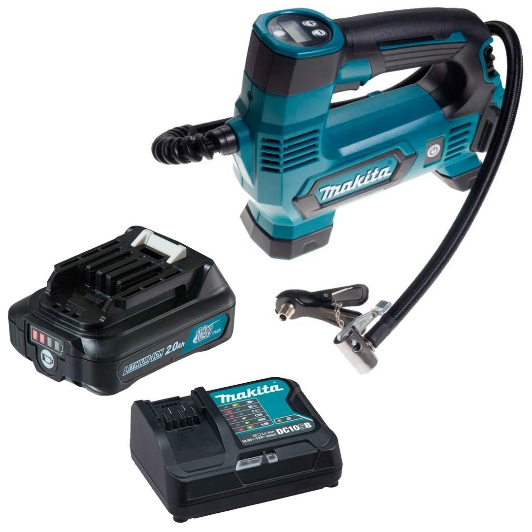 Compressor Ar Bateria MP100DZ +Carregador Rapido 12V + Bateria 12V 2AH Makita