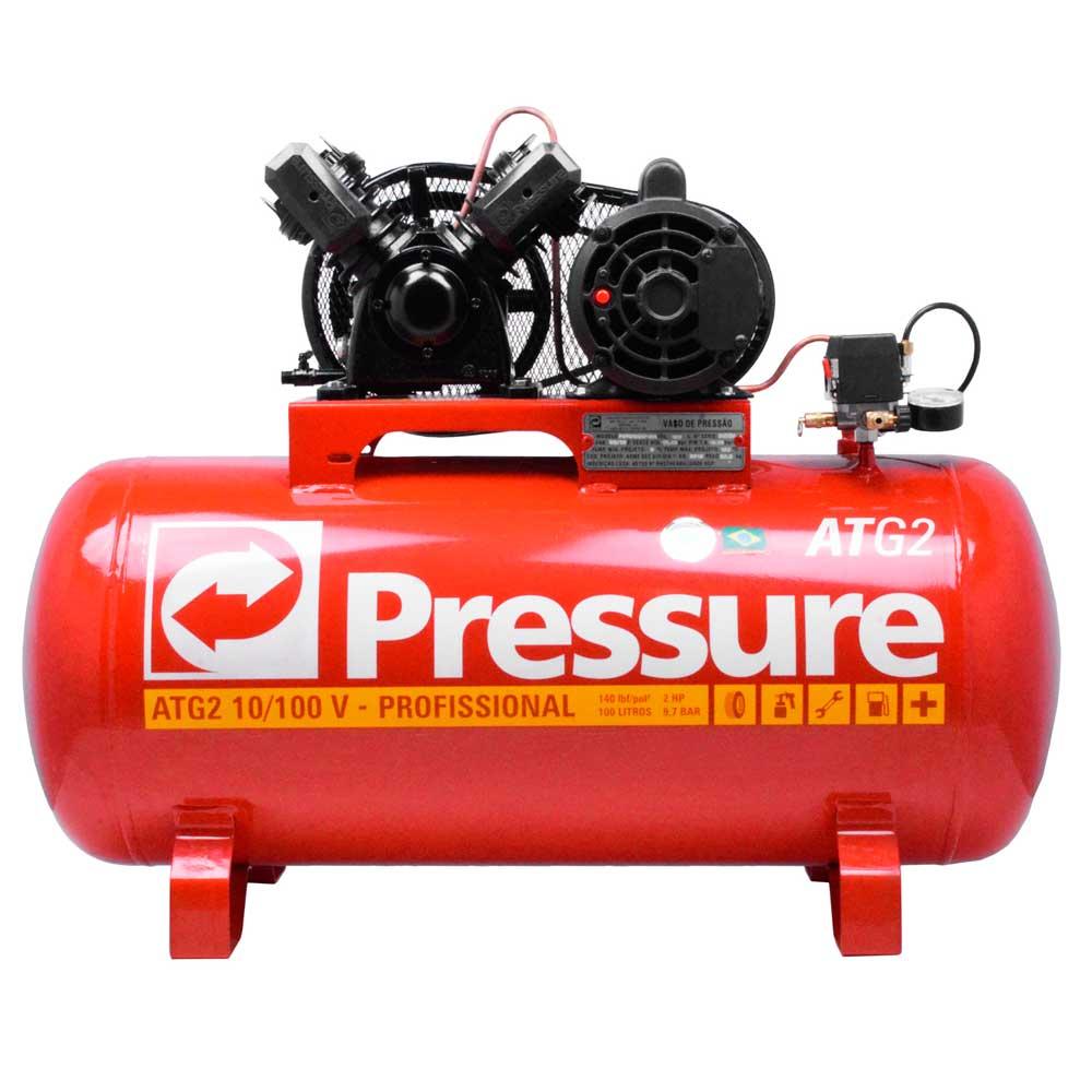 Compressor de Ar 10 pes 100L Mono 110/220V, ATG210100VM - Pressure