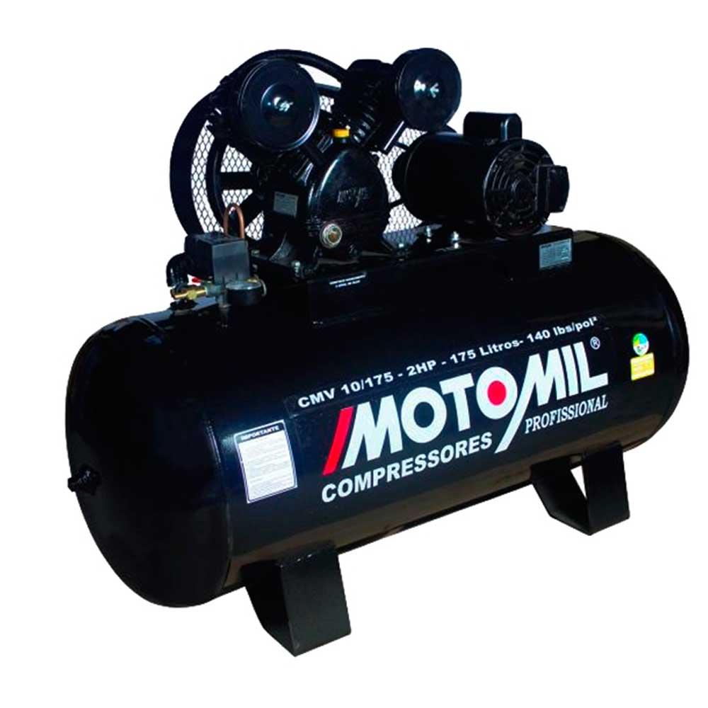 Compressor De Ar 10 pes 2HP Monofásico Preto Bivolt CMV-10/175 Motomil