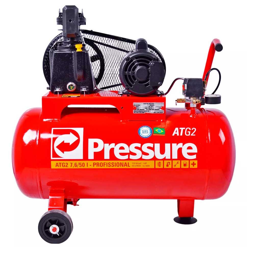 Compressor de Ar 7,6 pes 50 Litros BP ATG2 Movel Mono Pressure