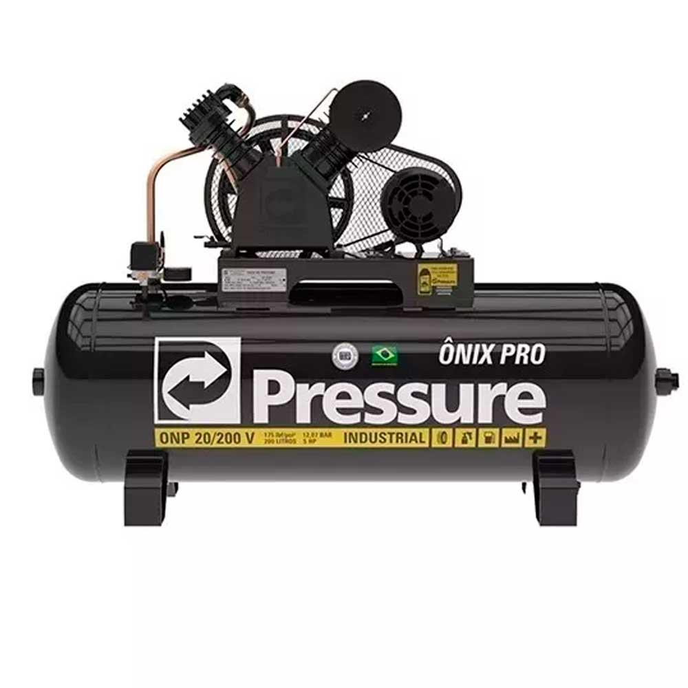 Compressor De Ar Pressure Onix 20 pes 175psi 200 Litros 5HP Trifasico