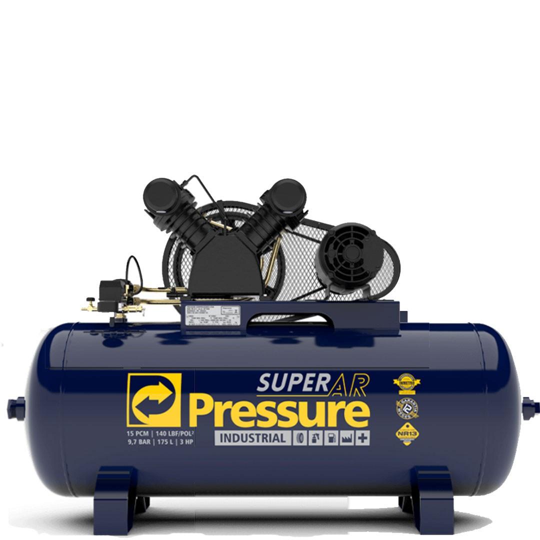 Compressor de Ar PRESSURE SUPER AR 15PCM/175L. Motor 3CV Mono WEG