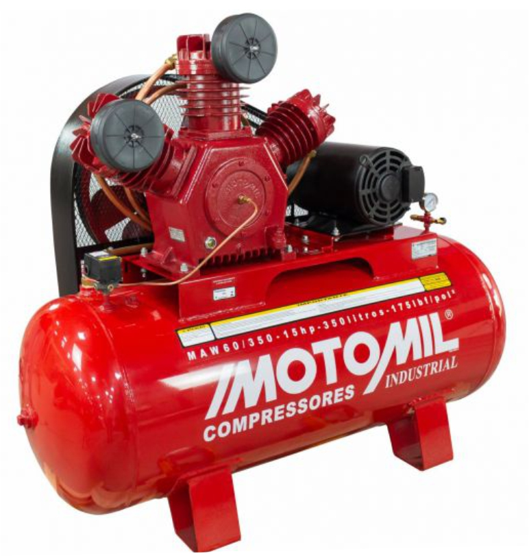 Compressor Motomil MAW 60 pes 60/350l. Motor 15CV Trifasico Nova 220/380v