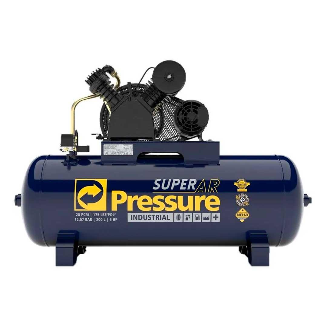Compressor Pressure Superar 20 pes 200 litros 175Psi Motor 5CV Trifasico 220/380v