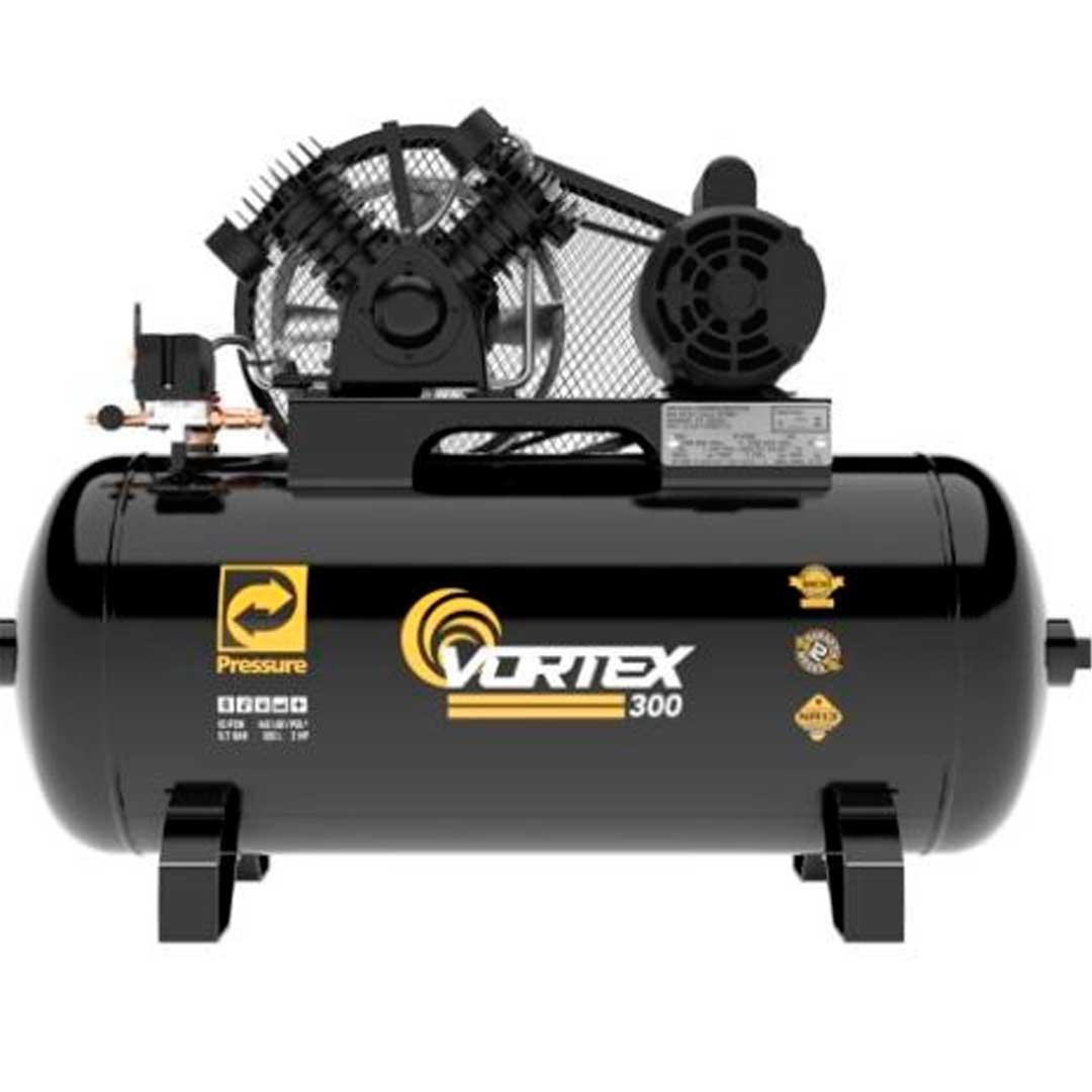 Compressor Pressure Vortex 300 10 pes 100 litros 140psi Motor 2cv Monofasico 110/220V 8975701241