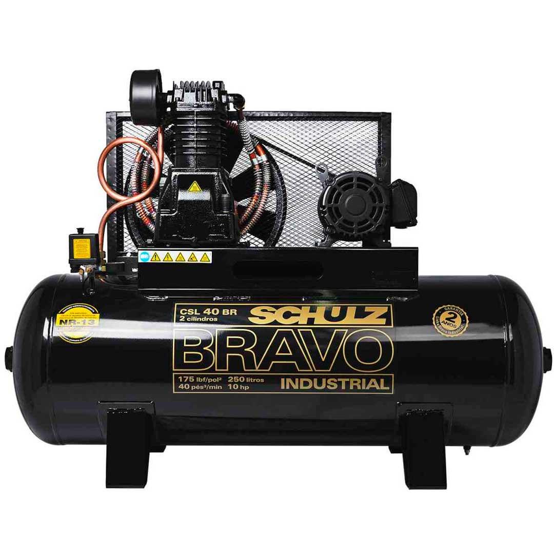 Compressor Schulz Bravo 40 pes CSL40/250l Motor 10cv Trifasico Weg