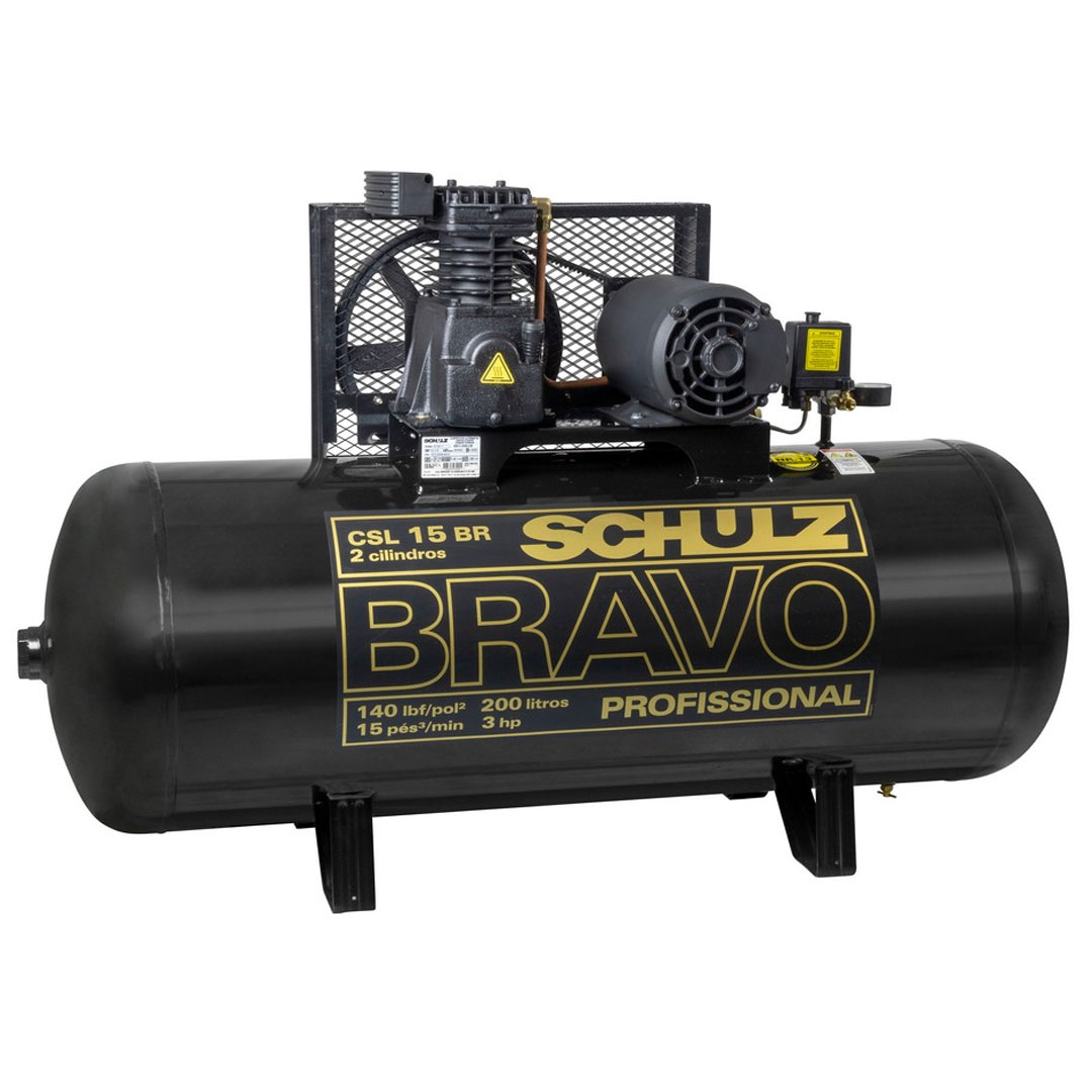 Compressor Schulz CSL 15 Bravo 200L 140lbs 3CV Monofásico 220V CSL15BR/200L