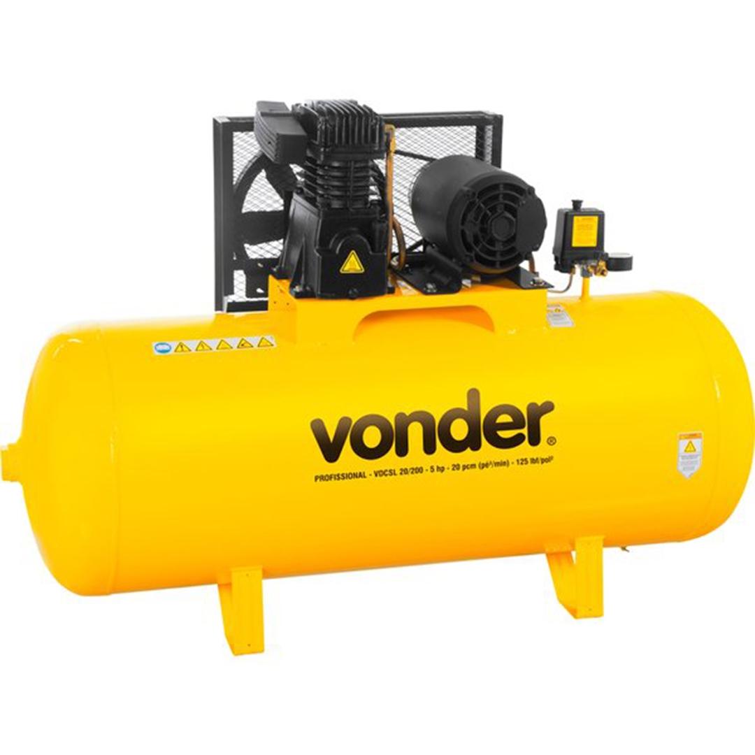 Compressor Vonder VDCSL20/200l 125lbs Motor 5cv Trifasico - 68 29 720 333