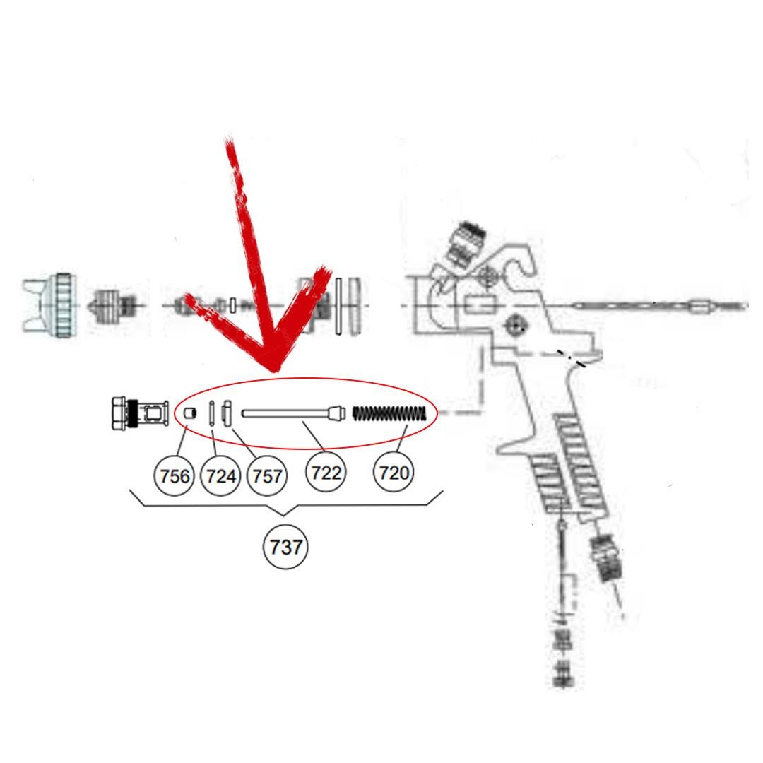 Conjunto da Válvula do Ar 737 para Pistola STEULA BC 75