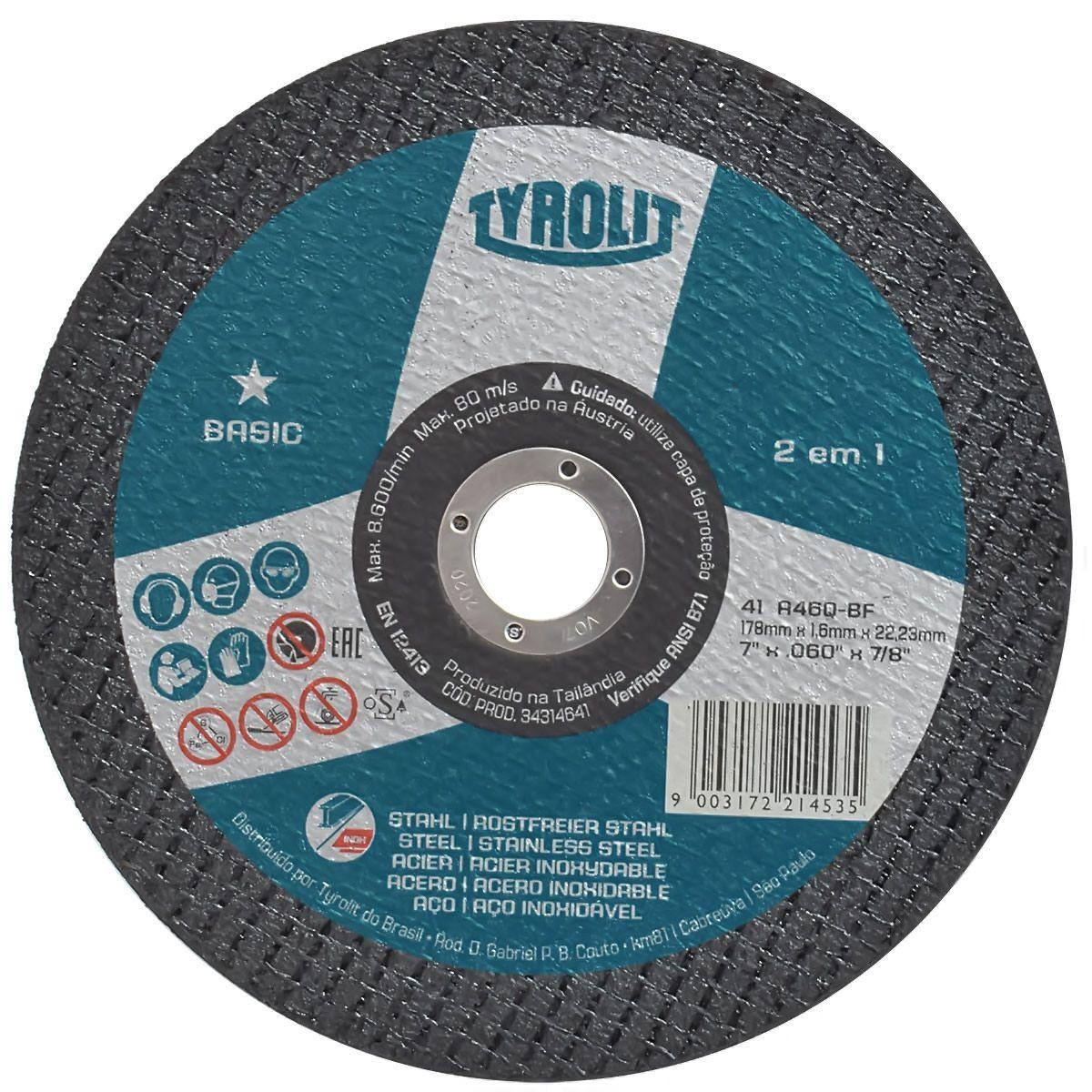 Disco de Corte Basic 180x1,6mm TYROLIT 34314641