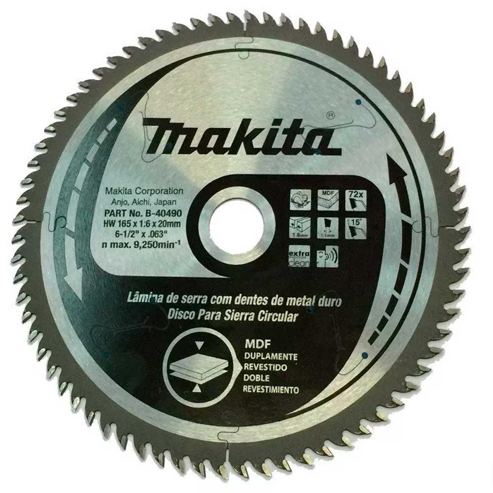 Disco de Serra  165mm p/ SP6000/DSP600 MDF 72 dentes MAKITA B-40490