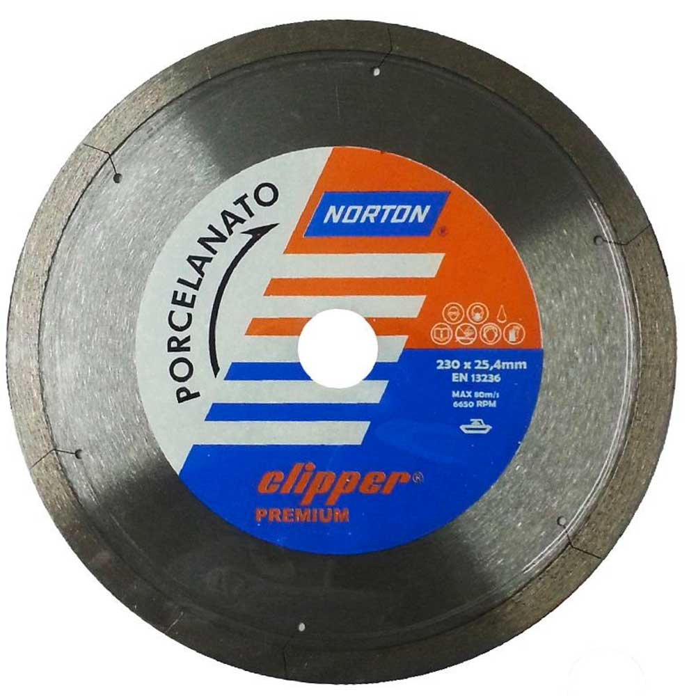 Disco Diamantado 230mm Liso Clipper Premium Porcelanato -  Norton