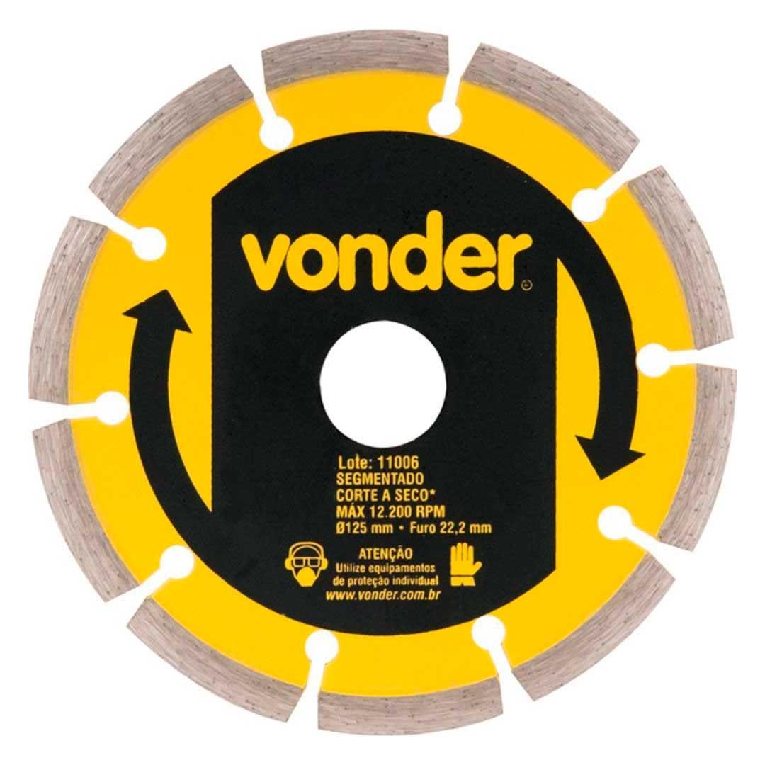 """Disco Diamantado Segmentado 5""""125mm-1268125000-Vonder"""