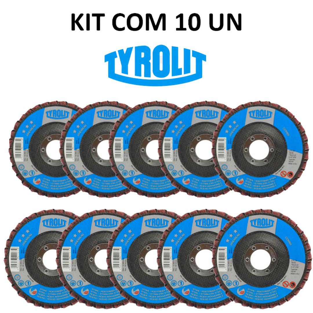 Disco Flap Combi Lixa e Metal Premium 4.1/2 - 742167 - TYROLIT 10 Peças