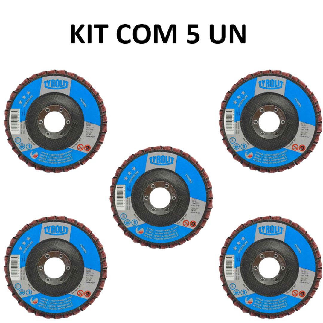 Disco Flap Combi Lixa e Metal Premium 4.1/2 - 742167 - TYROLIT 5 Peças