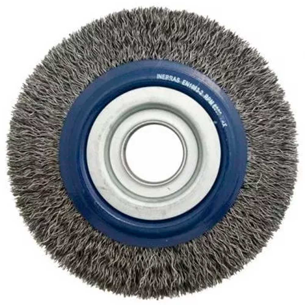 Escova Circular Aço Carbono  6x1 C/ Buchas P/ Rebolo - Inebras
