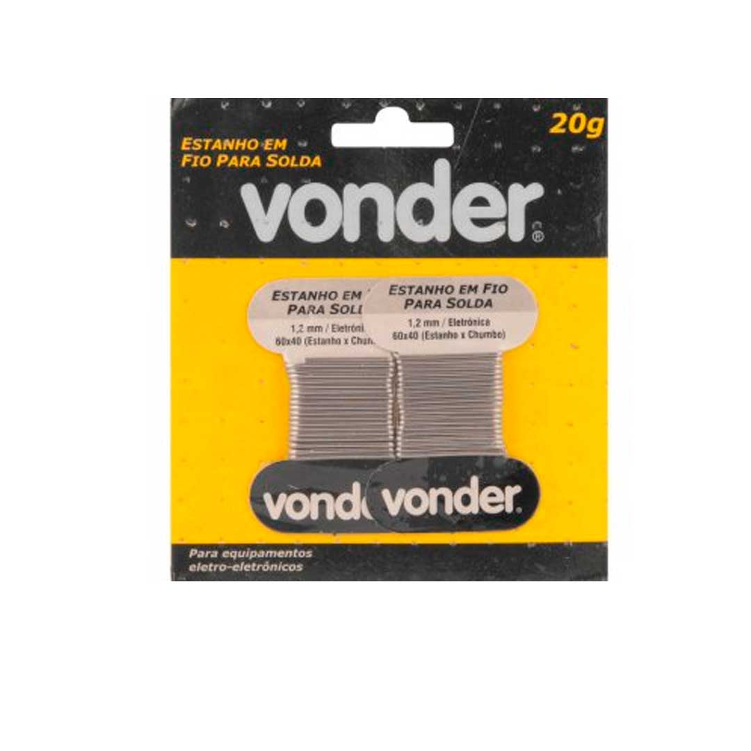 Estanho Cartelado 20gr 1,2mm 60 X 40 - Vonder - 74 38 604 020