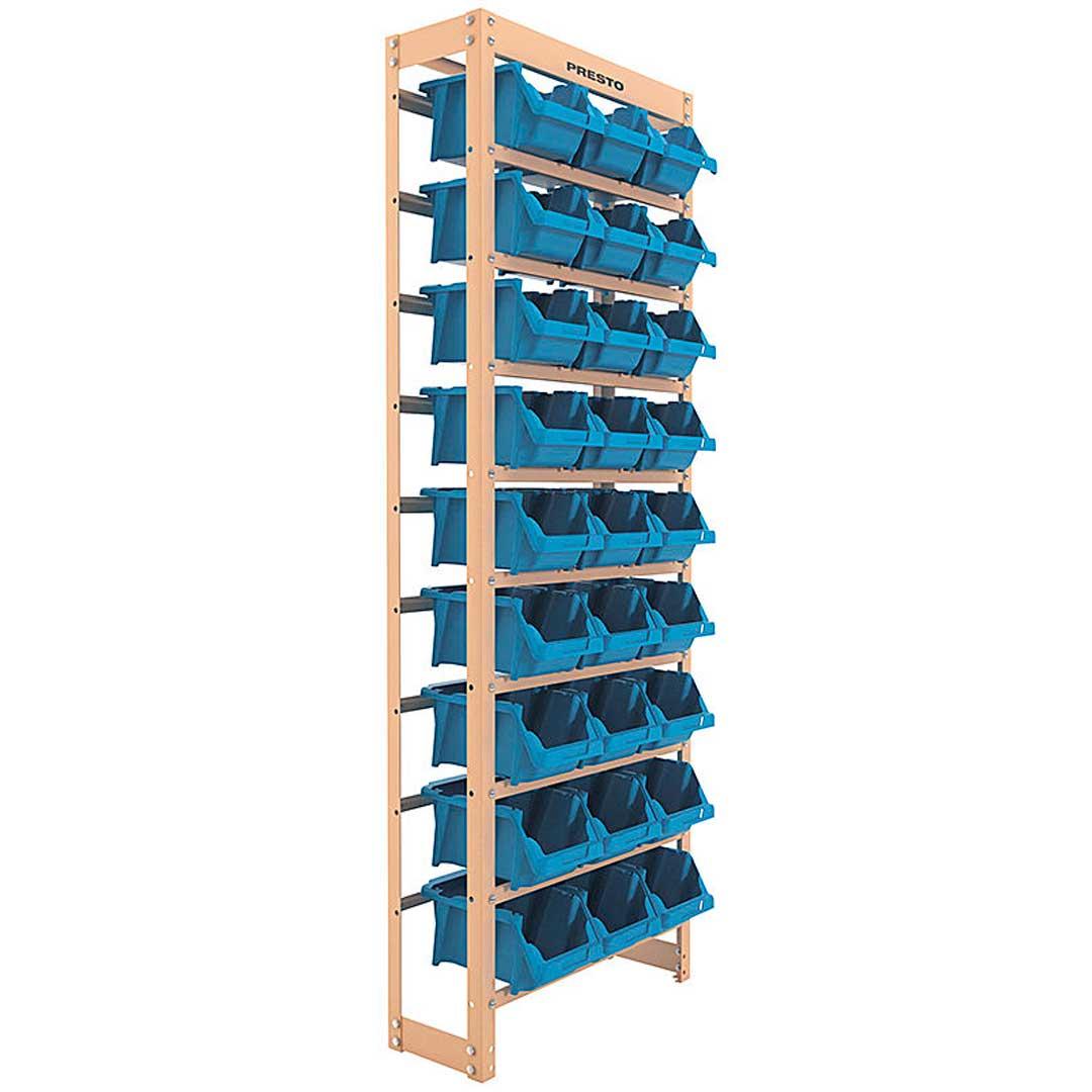 Kit Estante Gaveteiro Organizador com 27 Gavetas Empilháveis Nr. 5 Azul