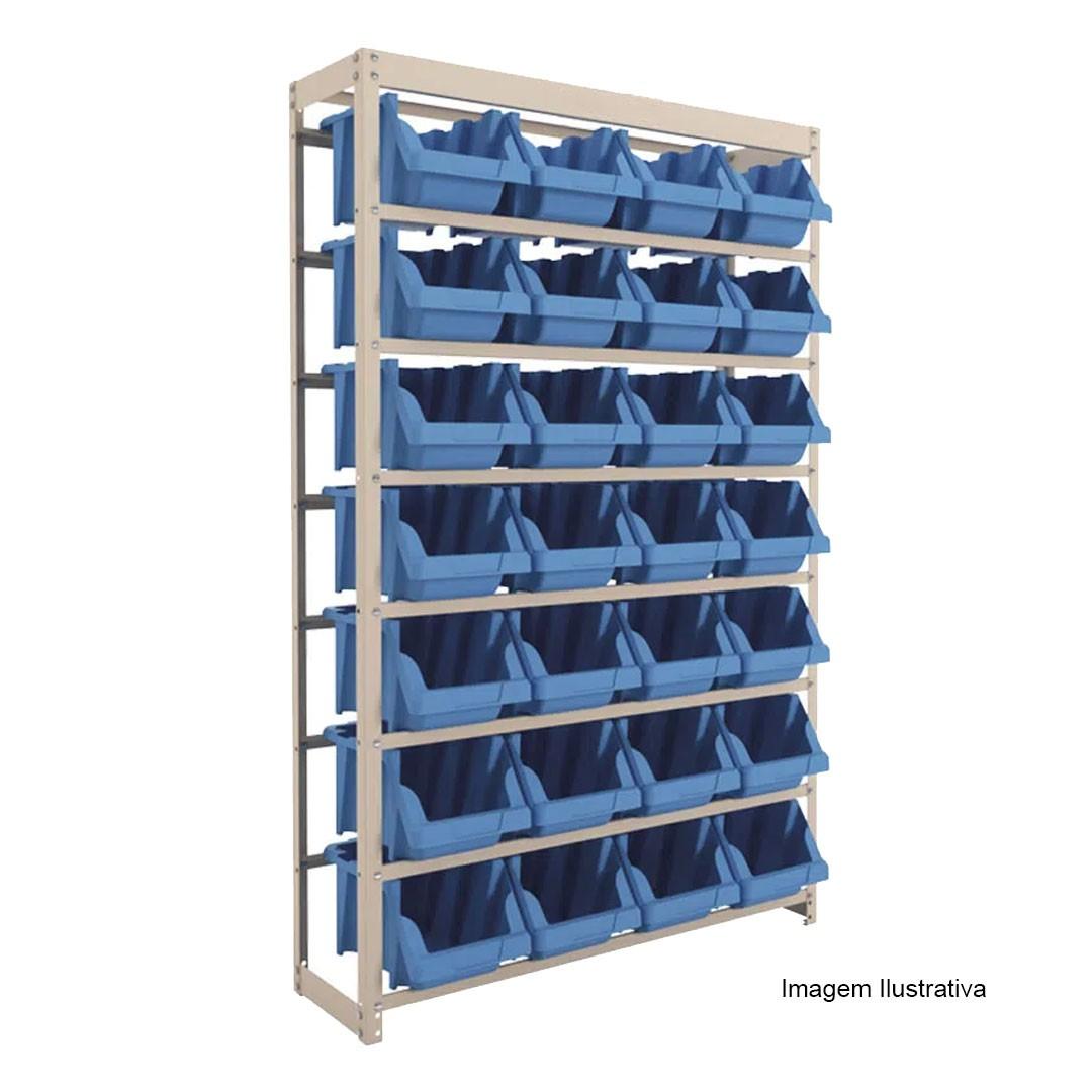Kit Estante Gaveteiro Organizador com 28 Gavetas Empilháveis Nr. 7 Azul