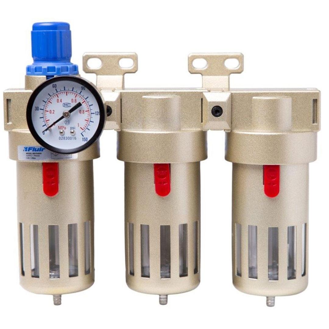 Filtro de Ar Odontológico 1/2 Com Regulador Coalescente e Carvão Ativado Triomedio Fluir