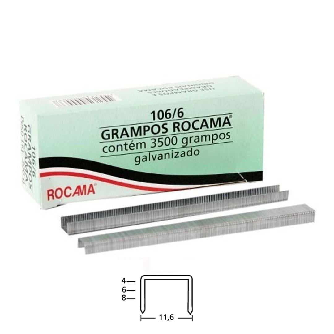 Grampo 106 6mm para Grampeador Manual 106/6 Rocama com 3.500 unid.