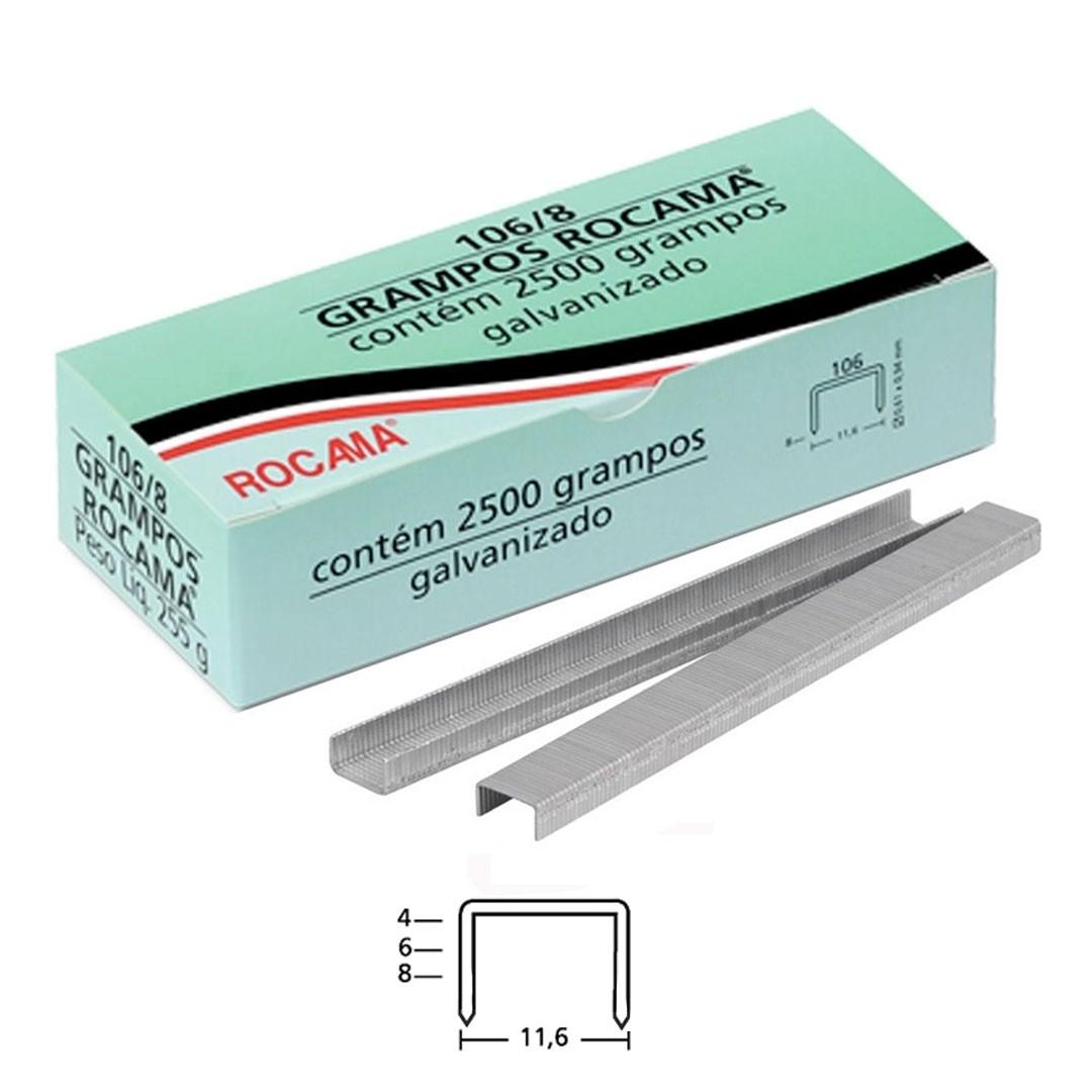 Grampo 106 8mm para Grampeador Manual 106/6 Rocama com 2.500 unid.