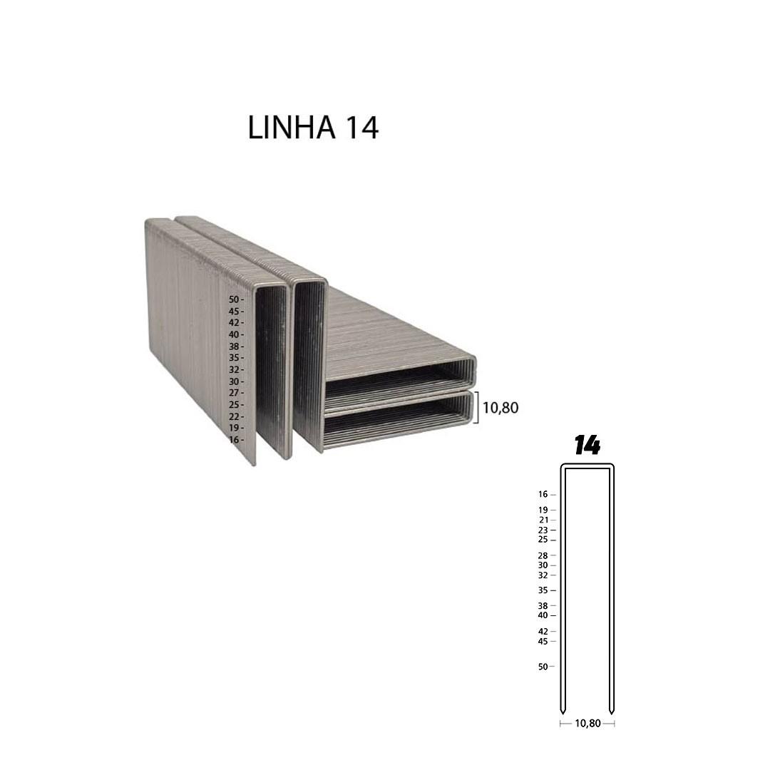 Grampo 14 25mm para Grampeador Pneumático 14/25 Guara com 22.344 unid.