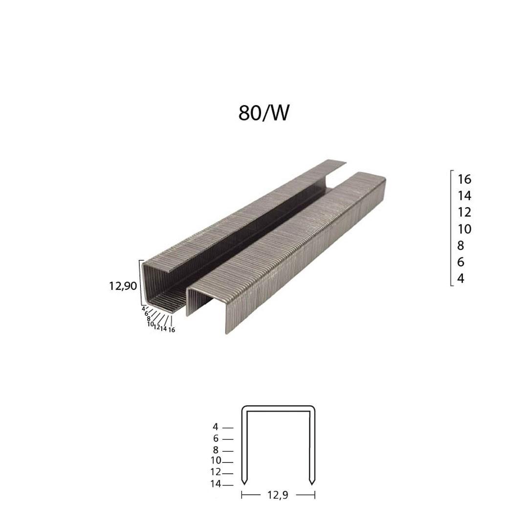 Grampo 80/W 12mm para Grampeador Pneumático 80/12 Guara com 16.800 unid.